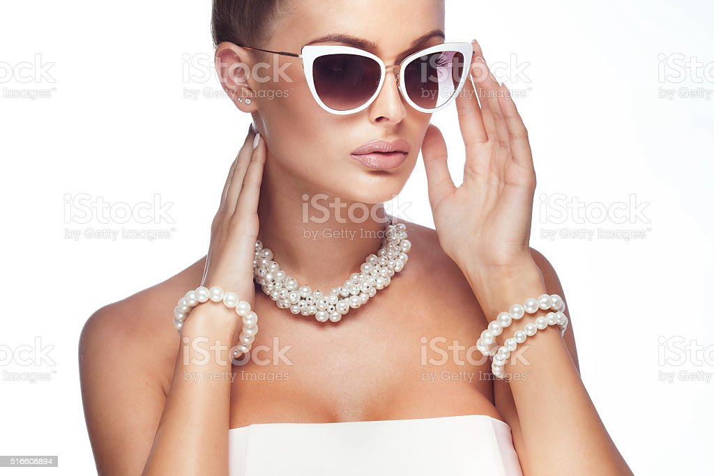 Portrait of blonde elegant woman. stock photo