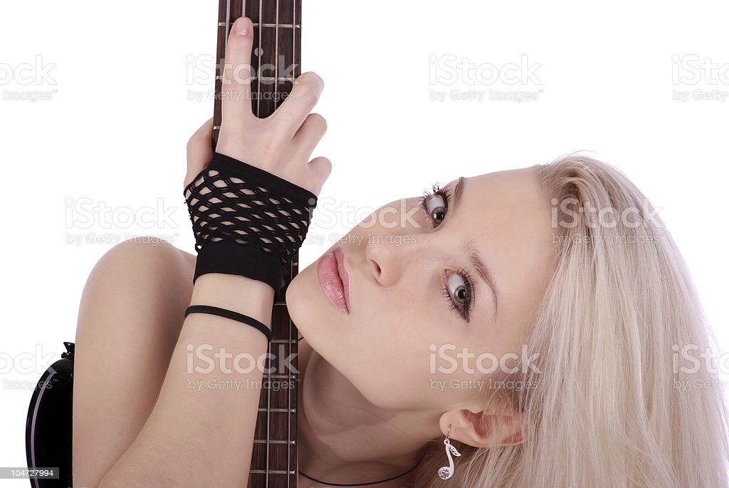 Portrait of blonde girl with electric guitar stock photo