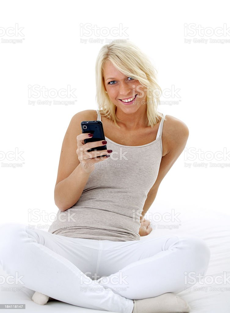 Portrait Of Blonde Woman With Cellphone royalty-free stock photo