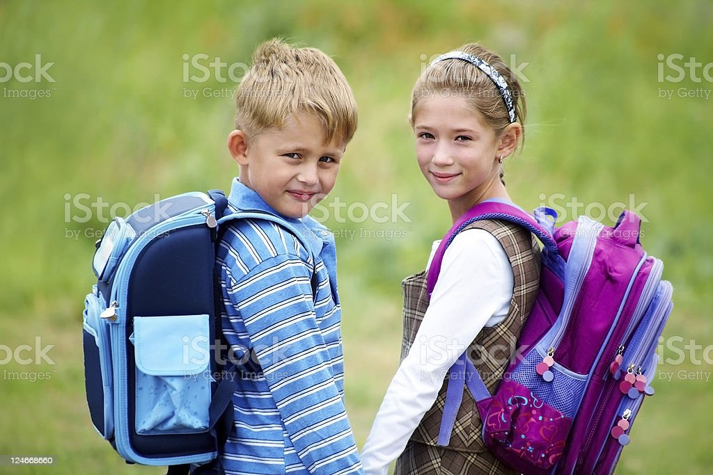 portrait of  boy with  girl royalty-free stock photo