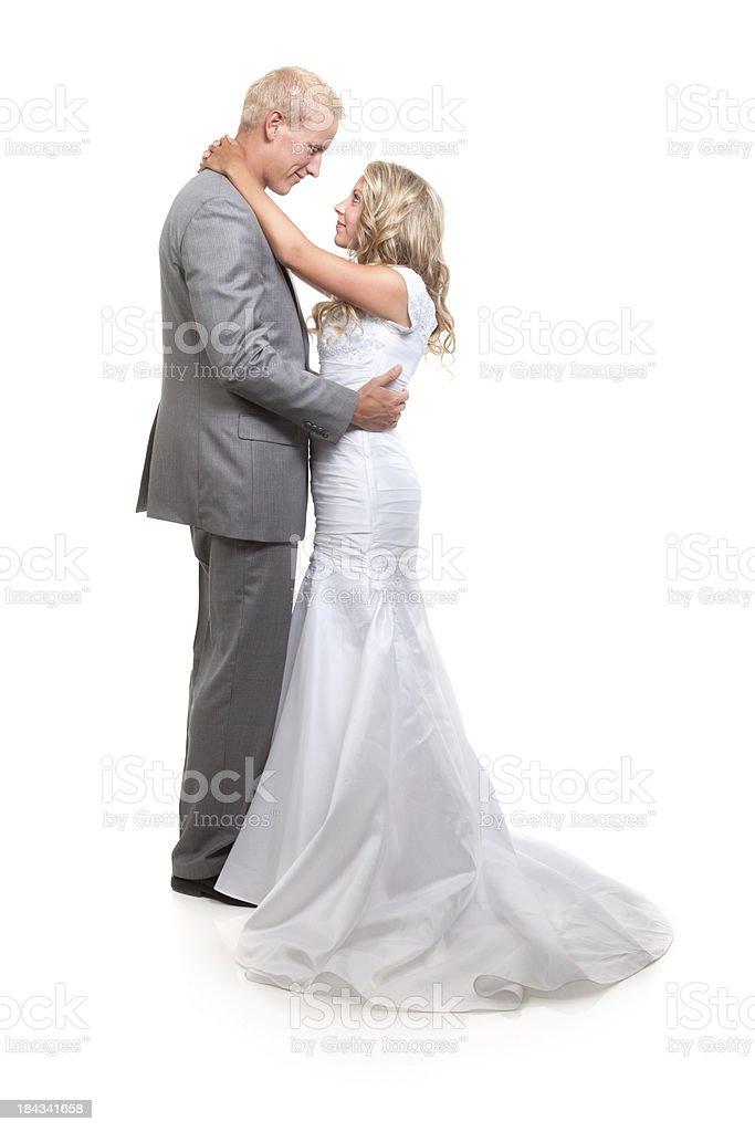 Porträt der Braut und Bräutigam auf weißem Hintergrund – Foto
