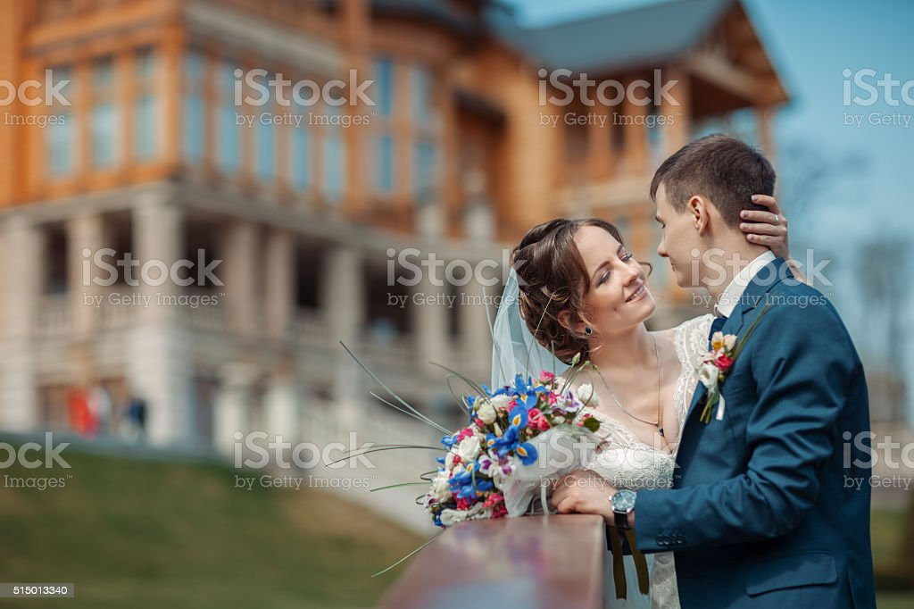 Portrait of bride and groom stock photo