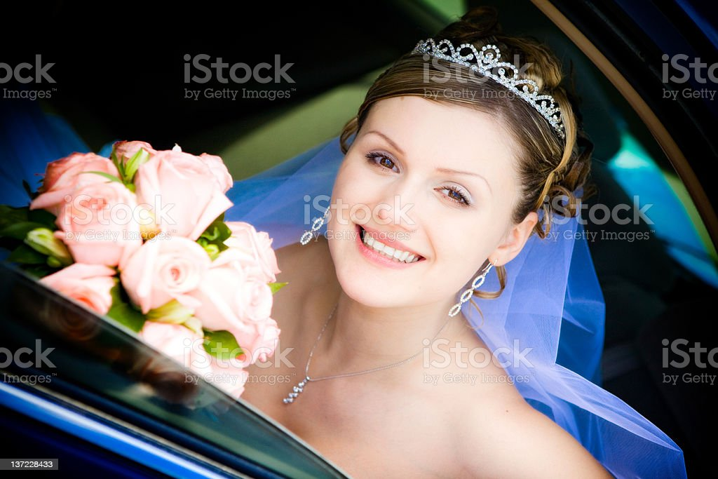 portrait of bride in the wedding car royalty-free stock photo