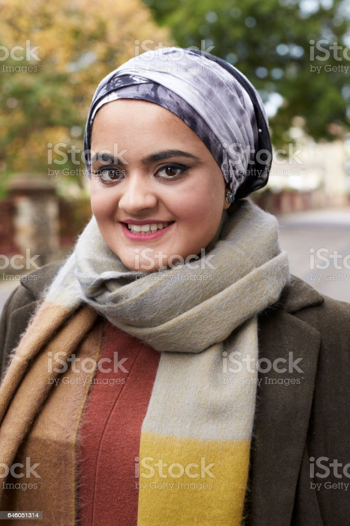 Portrait Of British Muslim Woman In Urban Environment stock photo
