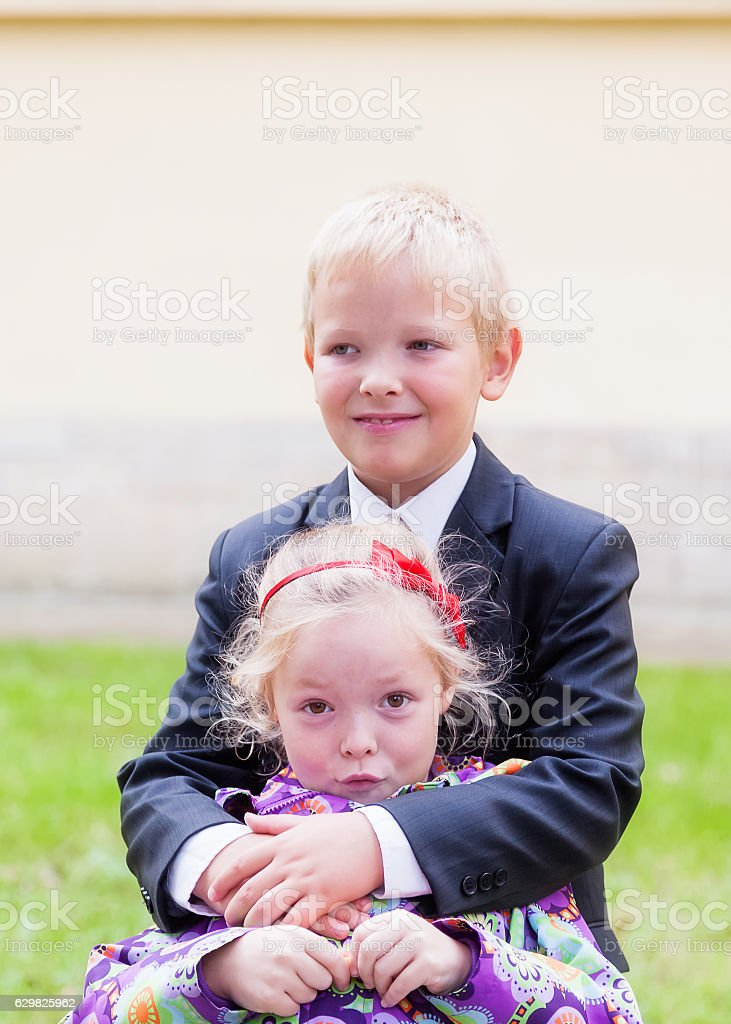 Portrait of brother and sister stock photo