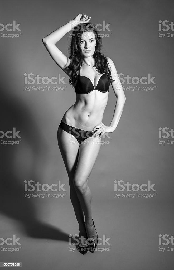 BW portrait of brunette beautiful girl stock photo