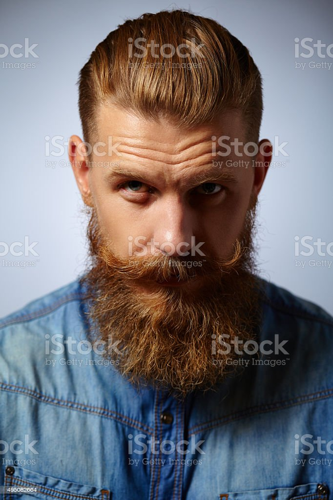Portrait of brutal man with beard and mustache stock photo