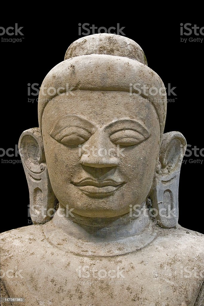 Portrait of buddha on black background royalty-free stock photo