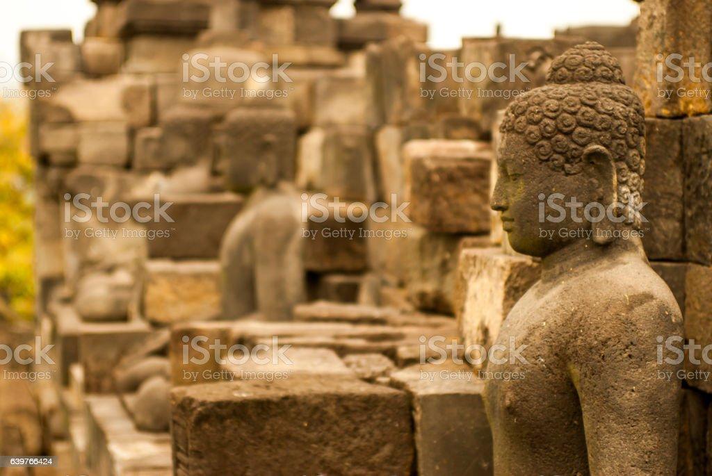 Portrait of Buddha on Borobudur Java island, Indonesia stock photo