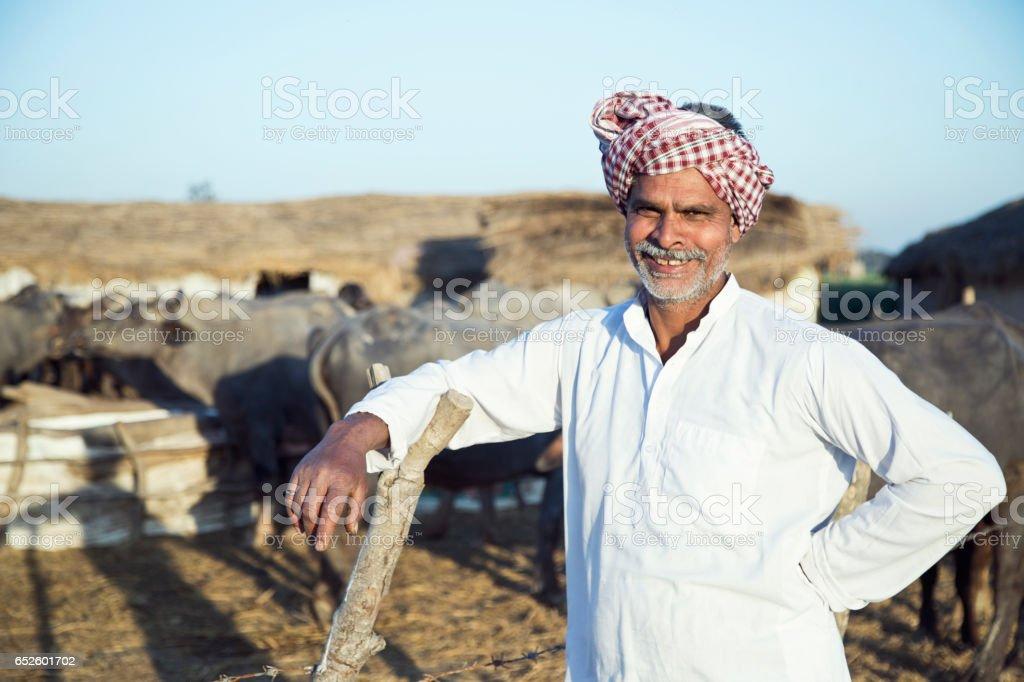 Portrait of buffalo shepherd stock photo