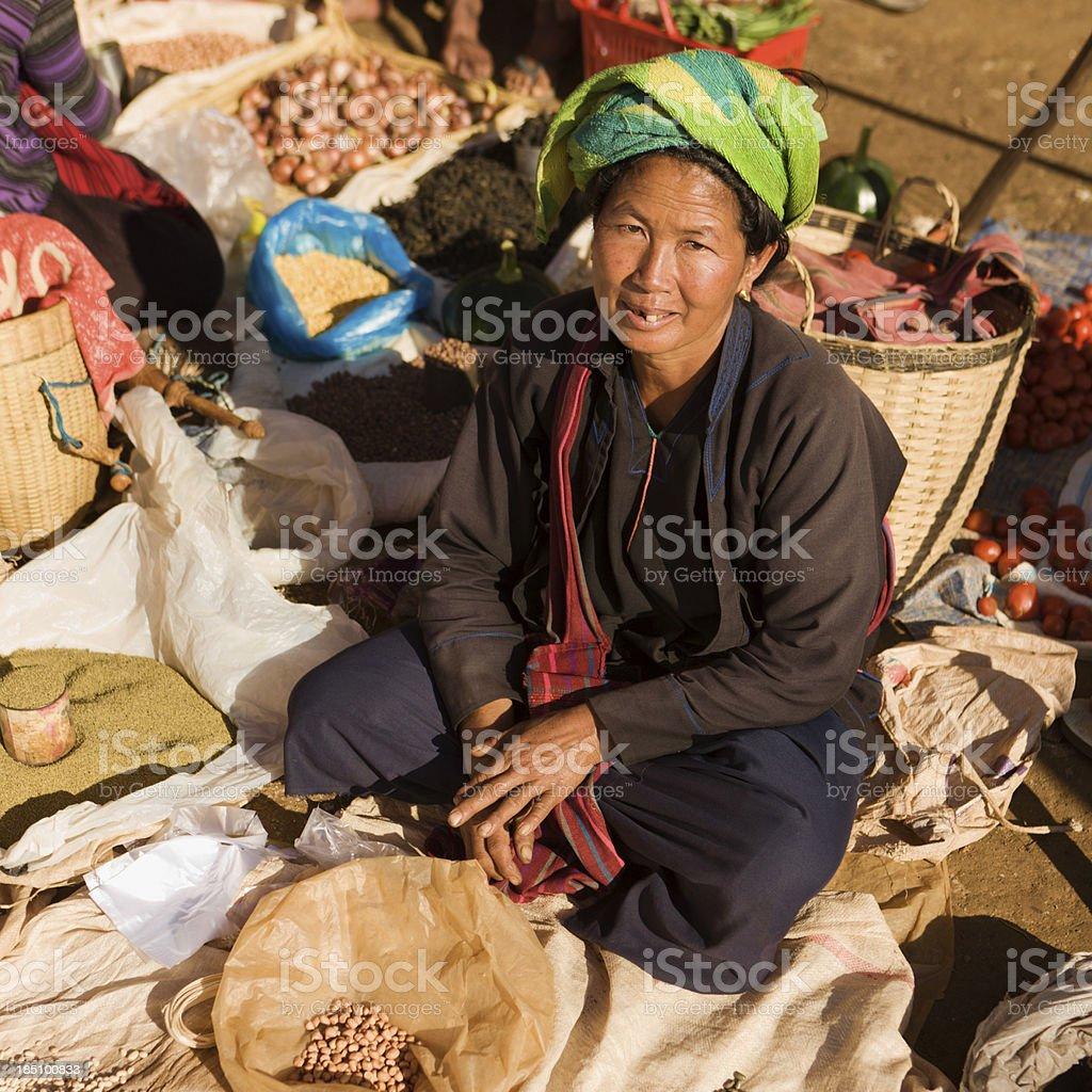 Portrait of burmese market seller royalty-free stock photo