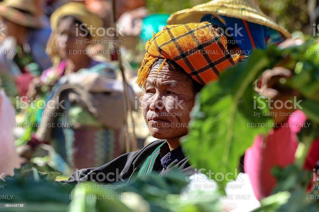 Portrait of burmese market seller stock photo