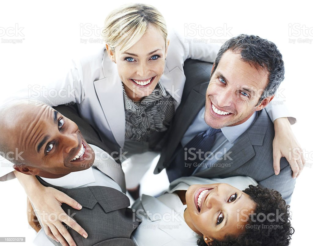 Portrait of business people standing together and smiling royalty-free stock photo