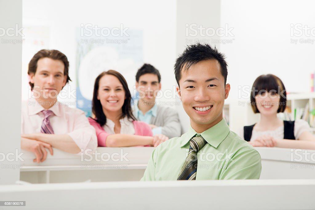 Portrait of business team of colleagues in office stock photo