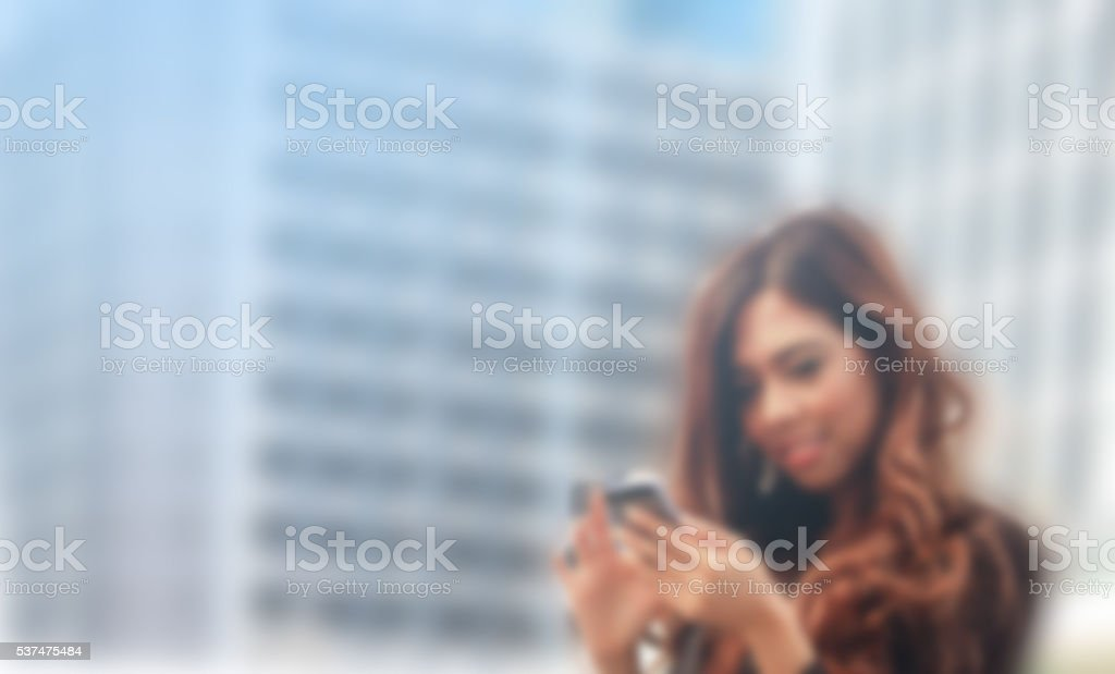 Portrait of business woman use mobile stock photo