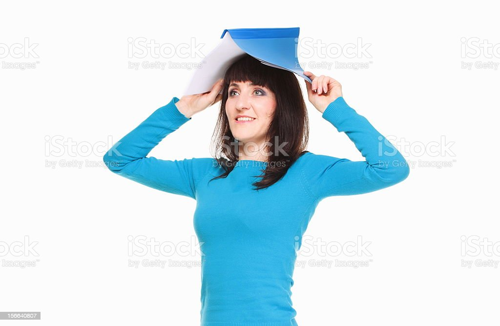 Portrait of business woman with documents on her head royalty-free stock photo