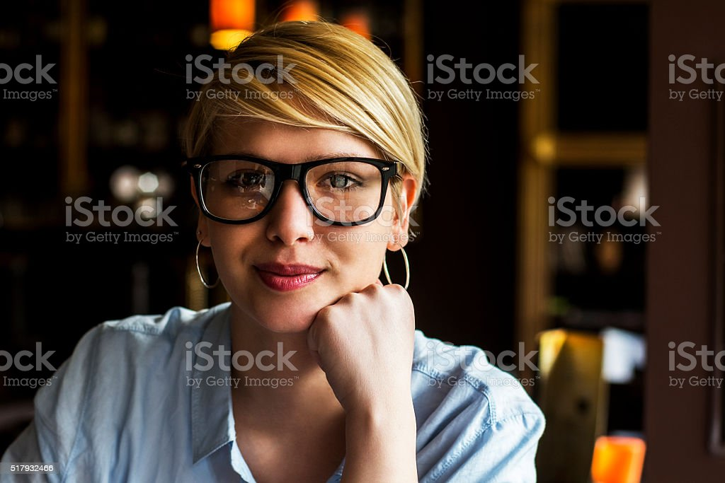Portrait of business young woman with glasses stock photo