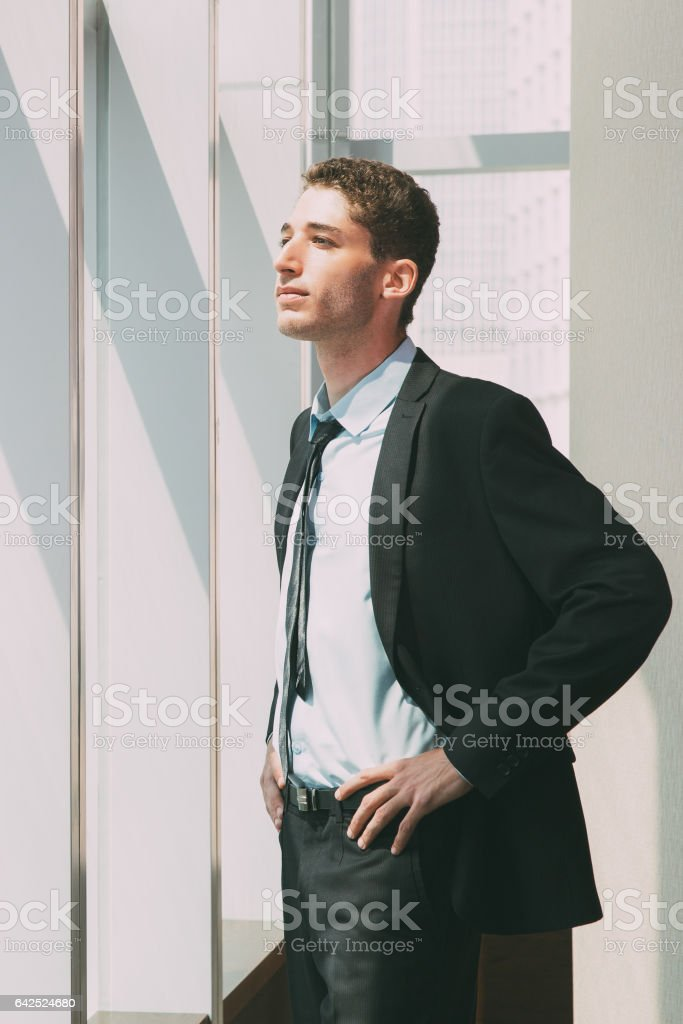 Portrait of Businessman at Window 1 stock photo