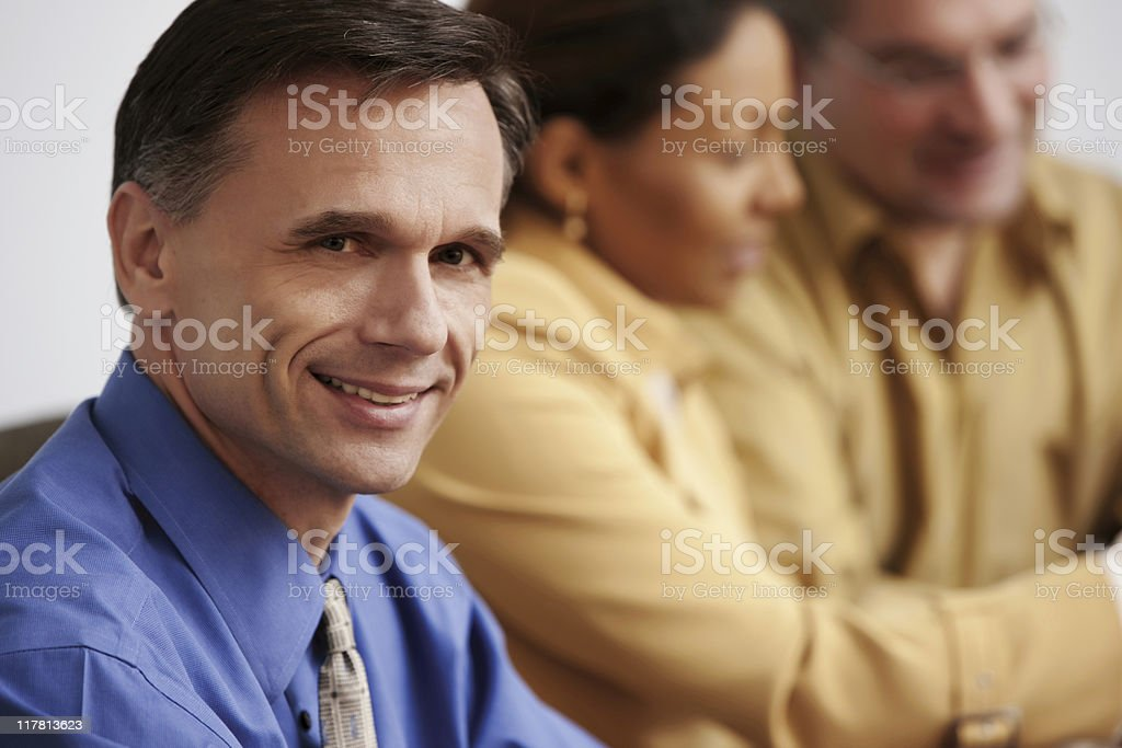 Portrait of Businessman in Business Meeting stock photo