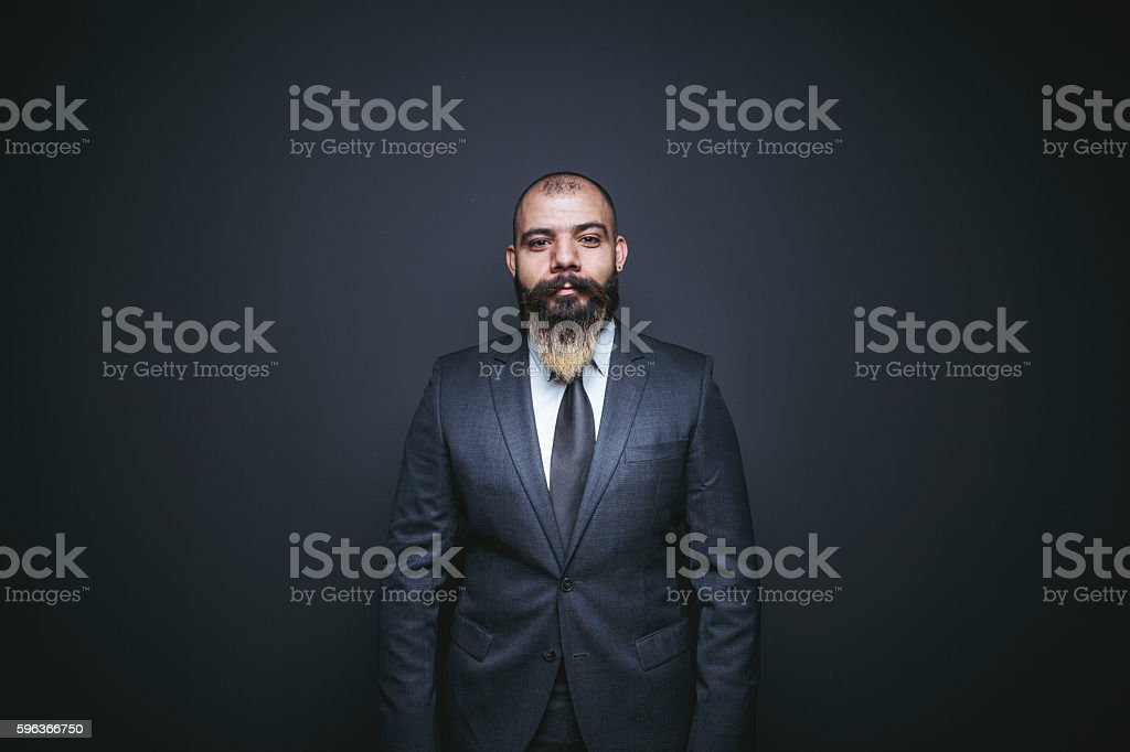 Portrait of businessman look at camera stock photo