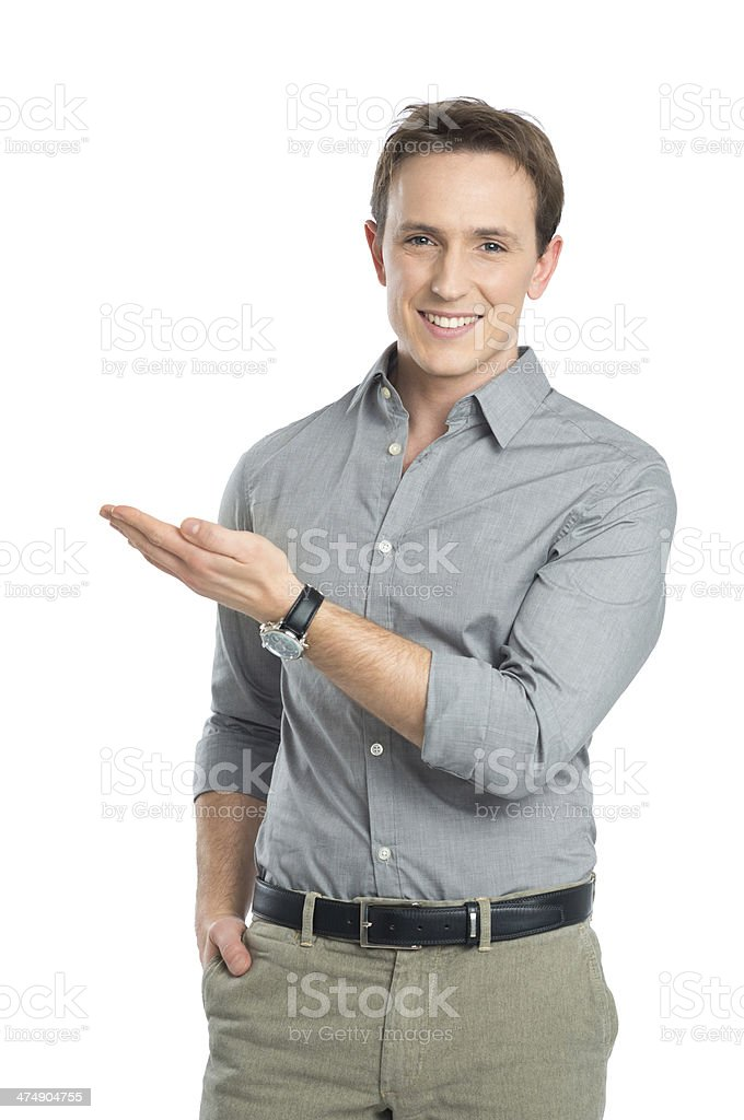 Portrait Of Businessman Presenting stock photo