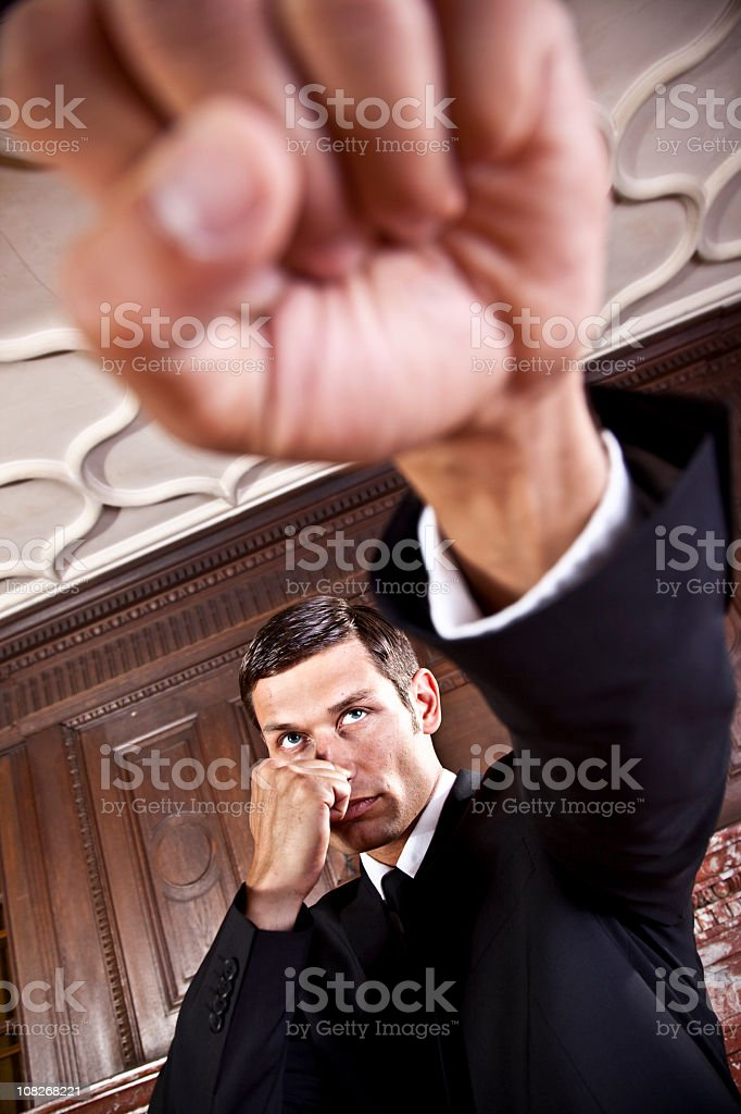 Portrait of Businessman Punching Fist stock photo