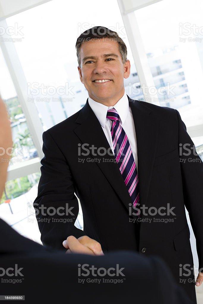 Portrait of businessman shaking hands stock photo