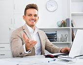 Portrait of  businessman working in modern office