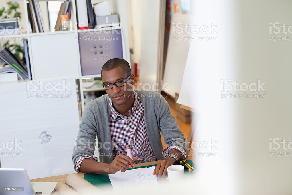 portrait of  businessman working in office  royalty-free stock photo