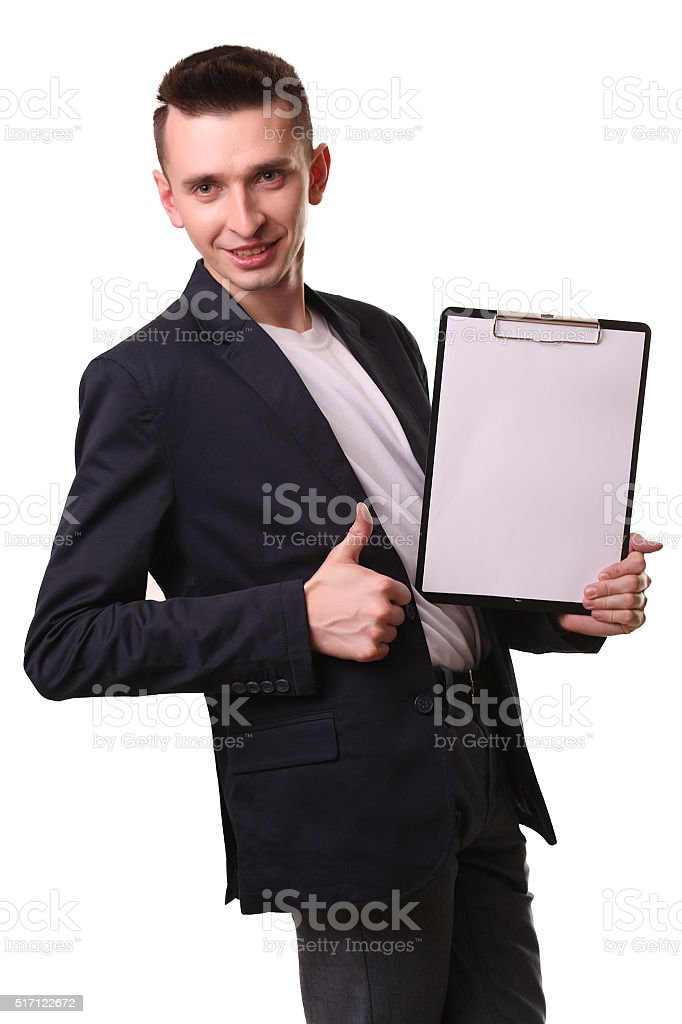 Portrait of businessman writing on clipboard isolated on white b royalty-free stock photo