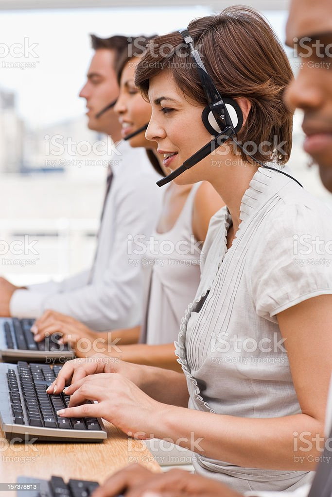 Portrait of businesspeople working in office stock photo