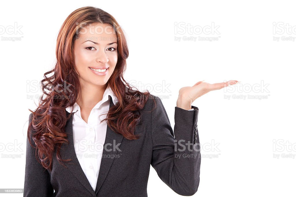 Portrait of businesswoman gesturing on white background royalty-free stock photo
