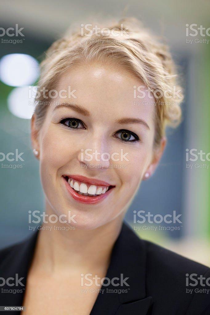 Portrait of businesswoman in office stock photo