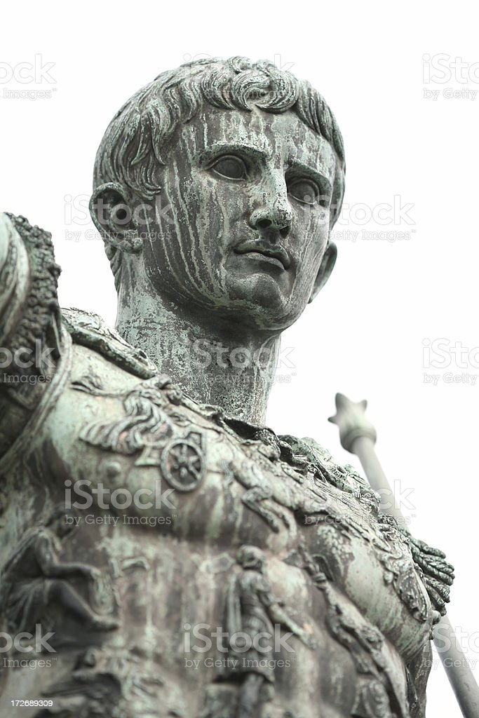 Portrait of Caesar Augustus isolated on white stock photo