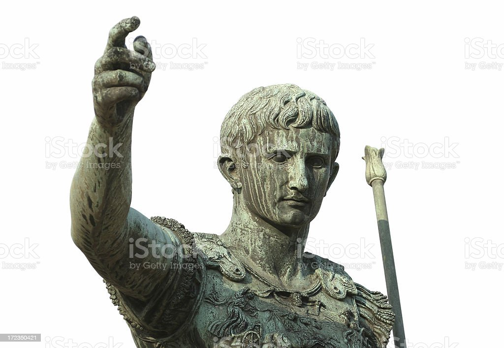 Portrait of Caesar Augustus isolated on white, Rome Italy stock photo