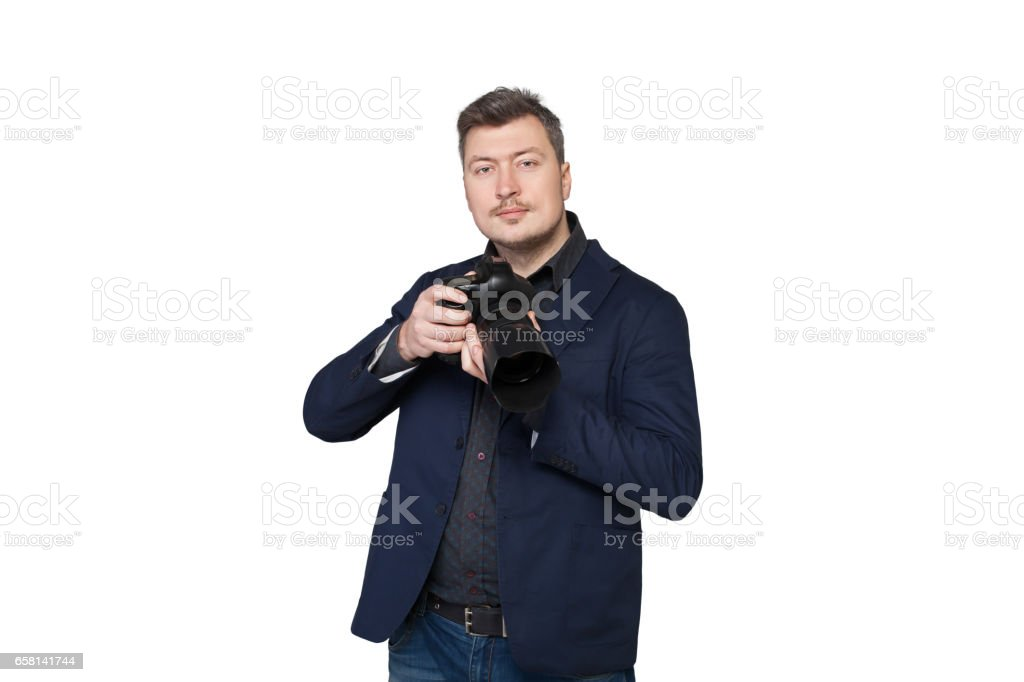 Portrait of cameraman with digital photo camera stock photo