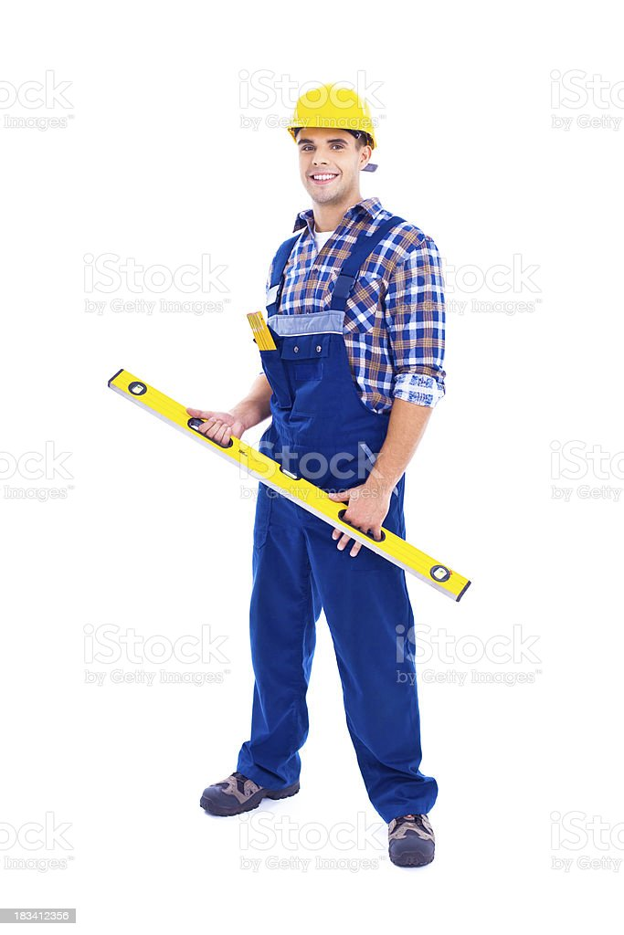 Portrait of carpenter with level royalty-free stock photo
