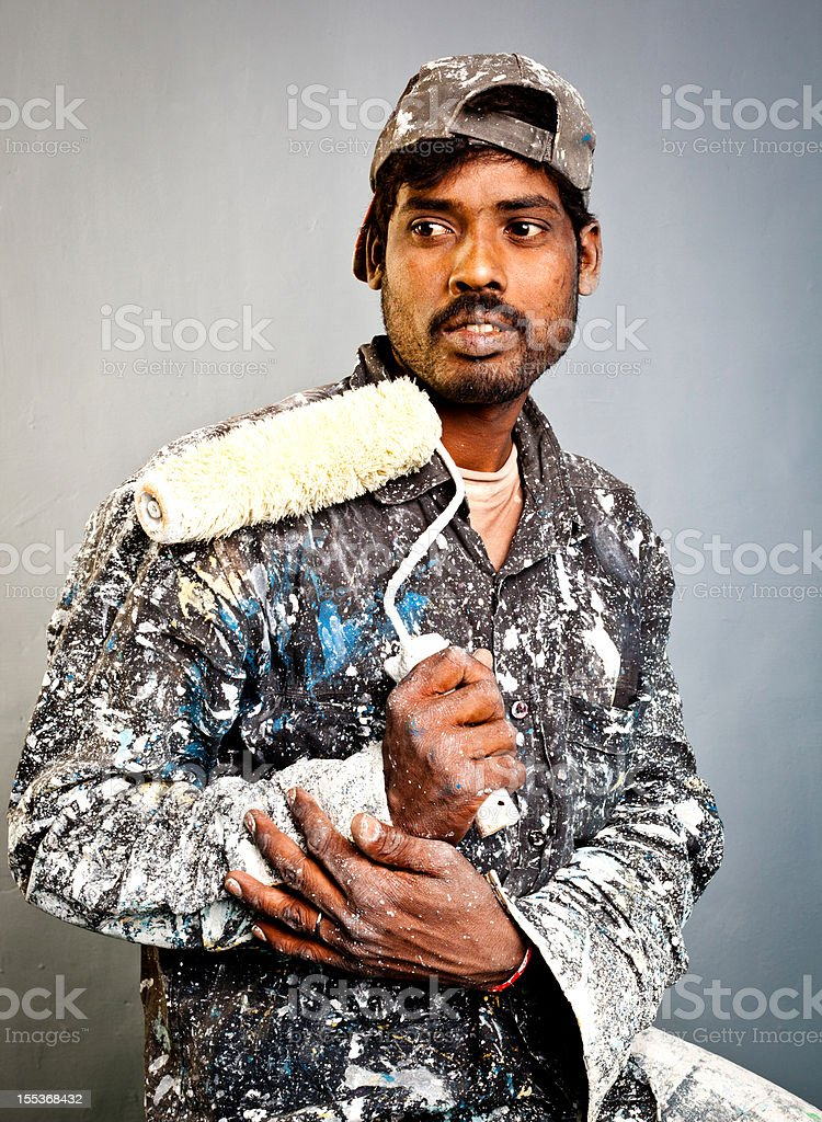 Portrait of Casual Indian Manual Worker Painter Adult Male royalty-free stock photo