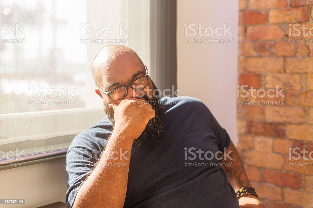 Portrait of Casually Dressed Maori Islander Business Man Meeting stock photo