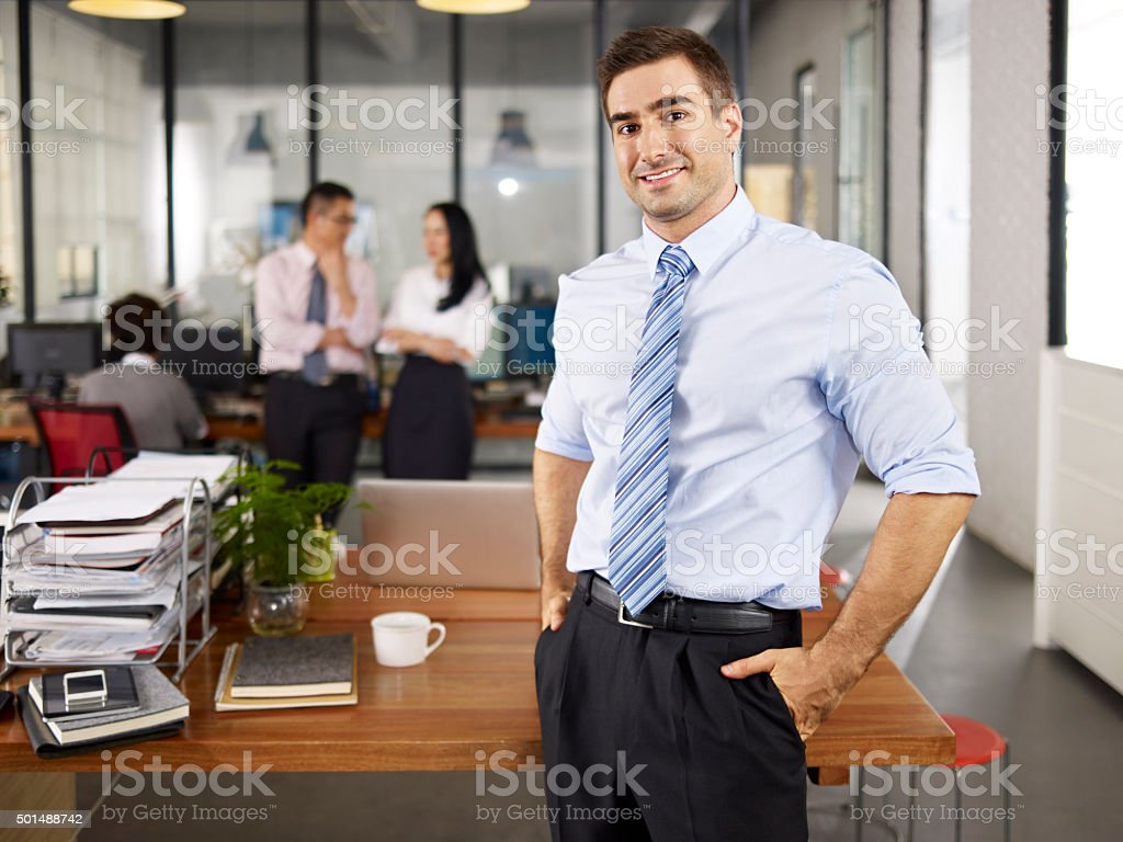 portrait of caucasian business man stock photo
