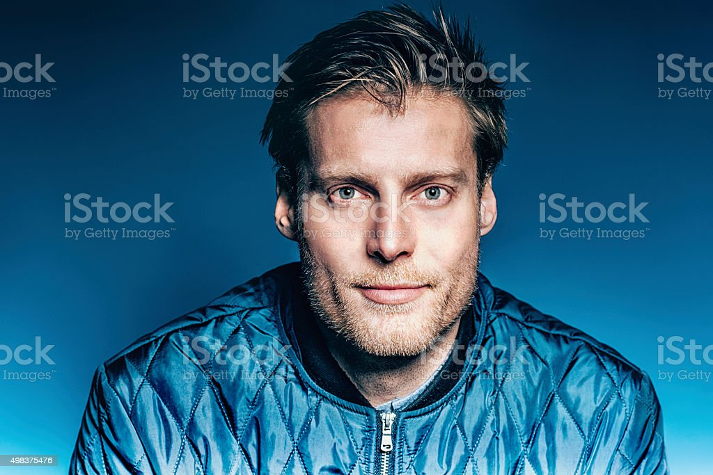Portrait of caucasian man in late 30s with beard stock photo