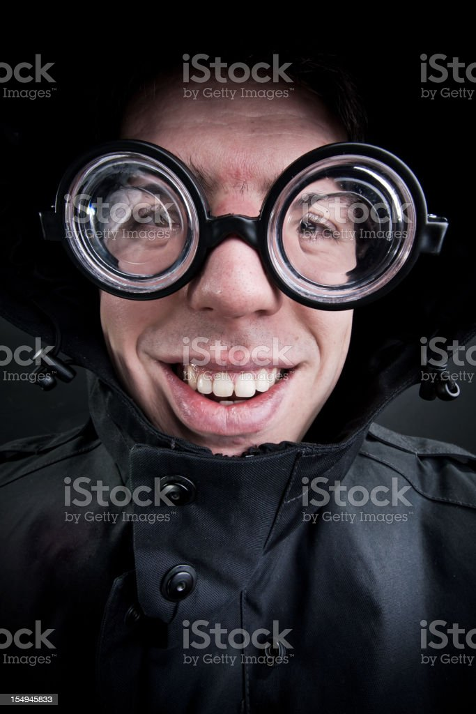 Portrait of caucasian man with comic face. stock photo