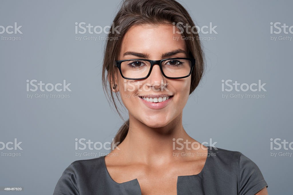 Portrait of charming young businesswoman stock photo
