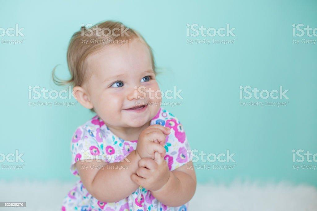 Portrait of cheerful baby stock photo