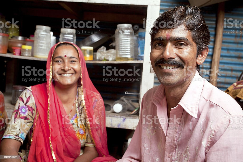 Portrait of Cheerful loving Indian Rajasthani Rural Couple royalty-free stock photo
