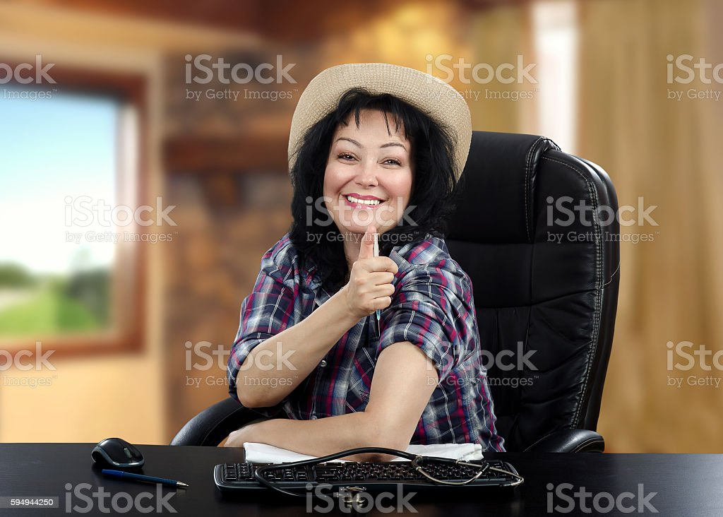 Portrait of cheerful rural doctor stock photo