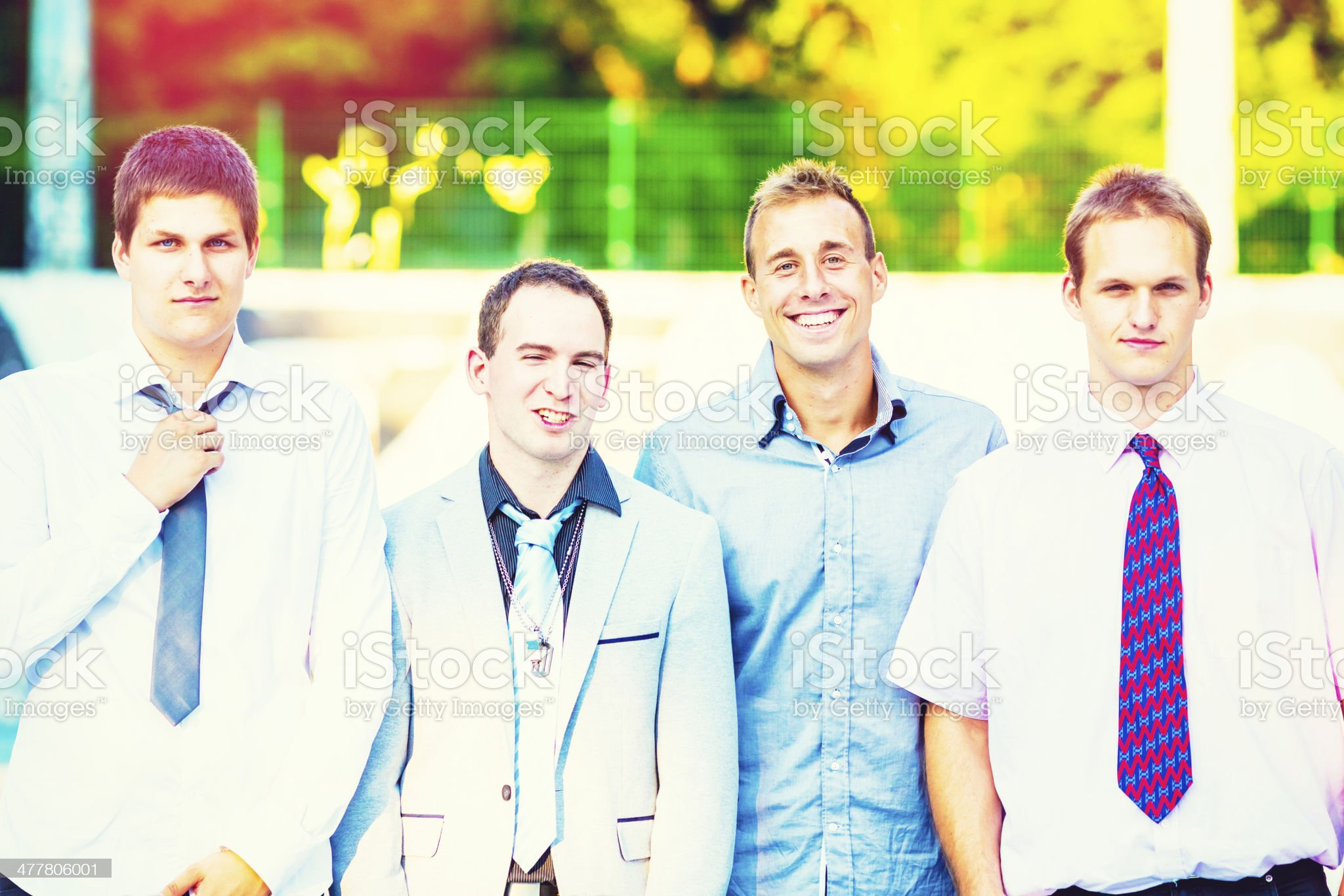 Portrait of cheerful young adults outdoors royalty-free stock photo