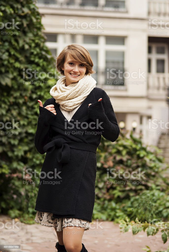 Portrait of cheerful young woman. stock photo
