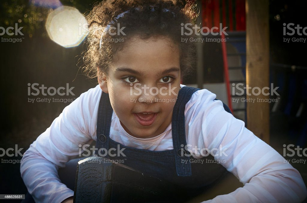 PEOPLE: Portrait Of Child (7-8) Making Funny Face royalty-free stock photo