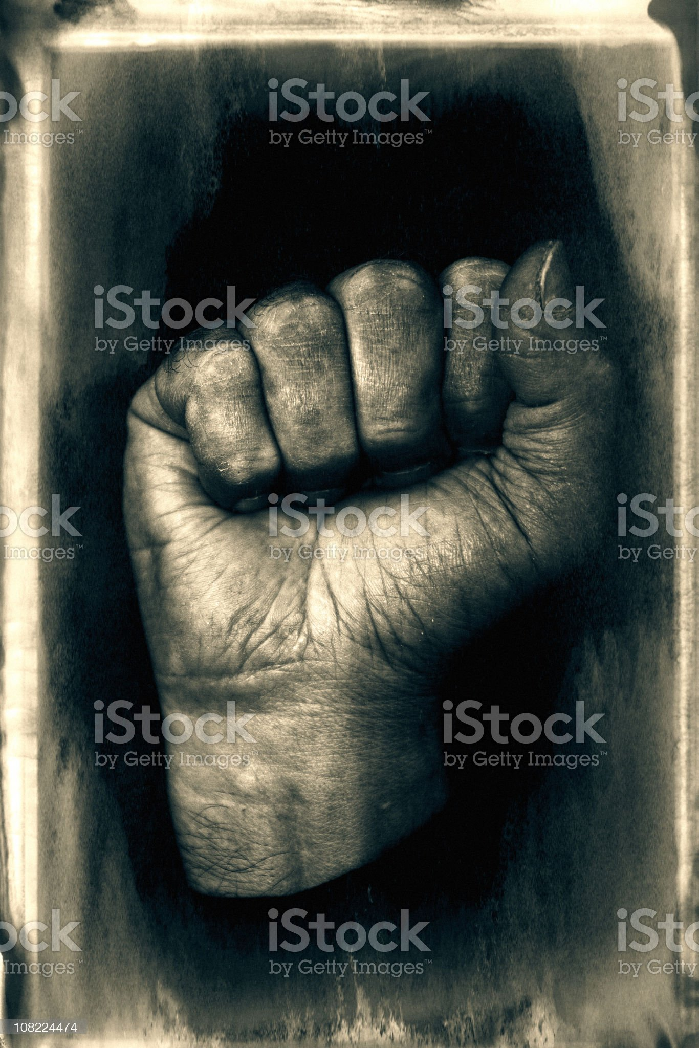 Portrait of Clenched Human Fist, Black and White royalty-free stock photo